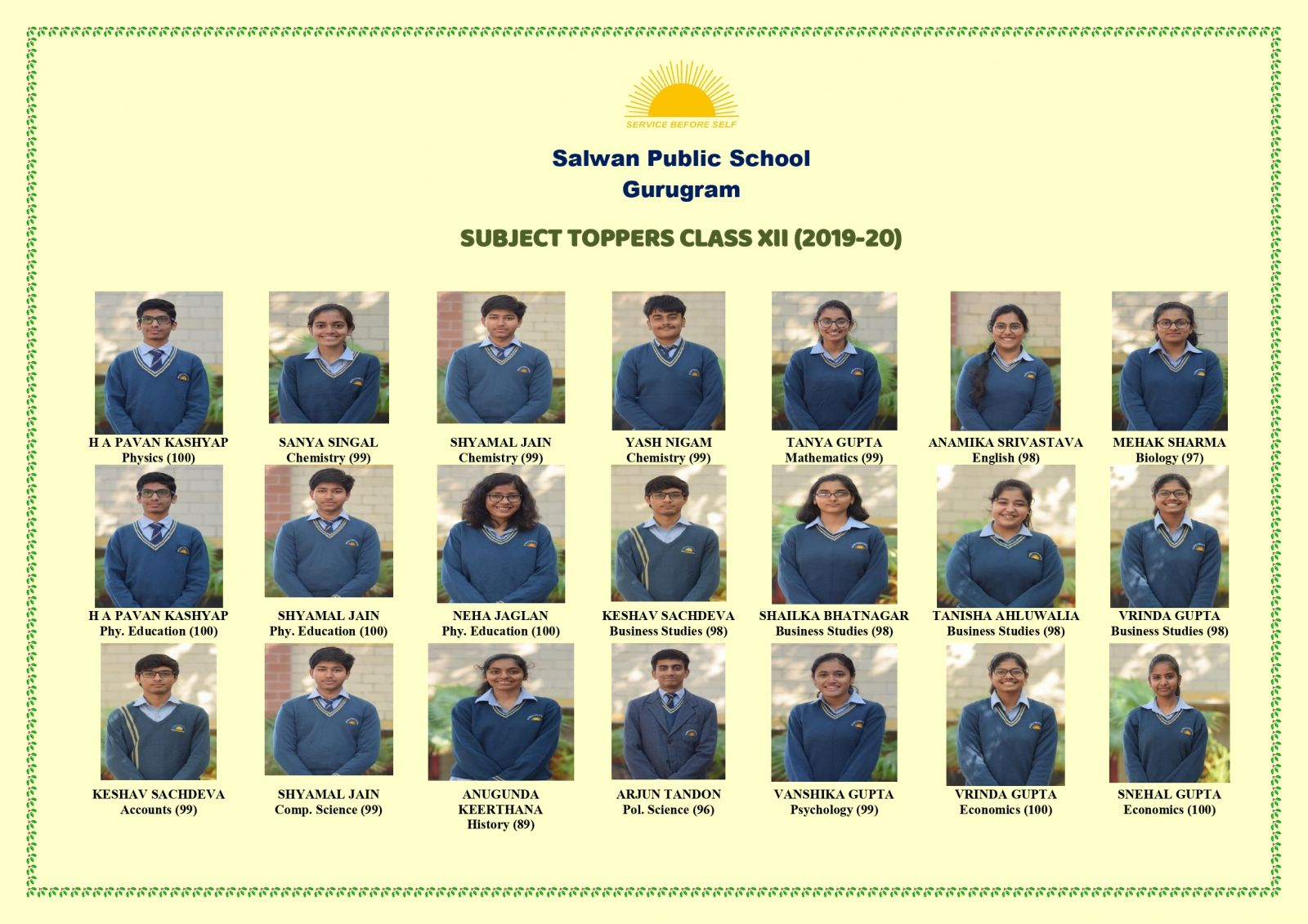 Subject Topper Class XII